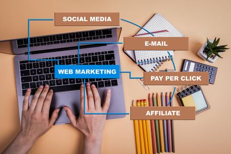 Web marketing concept. Chart with keywords. Hands on laptop doing business 版權商用圖片