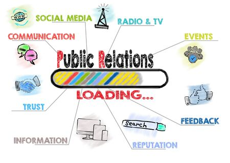 Public Relations Concept. Chart with keywords and icons.