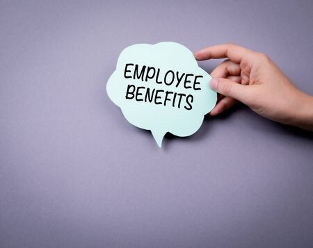 Employee Benefits. Speech bubble on a gray background Banco de Imagens