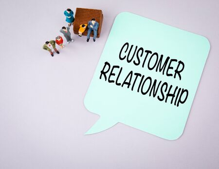 Customer Relationship. Business and communication concept. Paper speech bubble