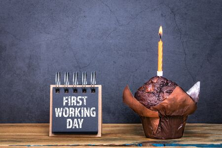 First working day. Birthday chocolate cake and one burning candle