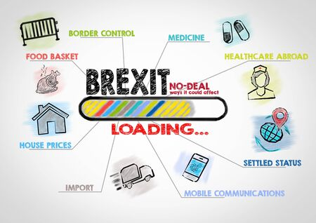 No Deal Brexit loading concept. Chart with keywords and icons