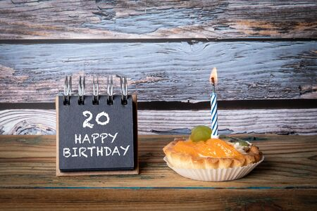 20 Happy Birthday. Cake with candle and greeting card