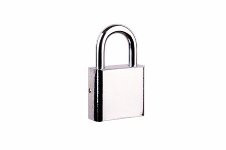 Locked Silver Padlock isolated on a white background