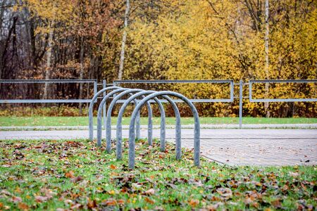 Empty outdoor bike parking in city park