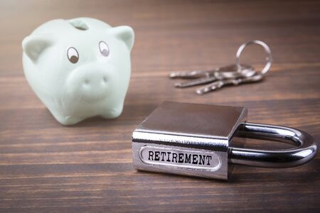 Retirement. Pension funds, investments, savings, health and insurance concept Stock Photo