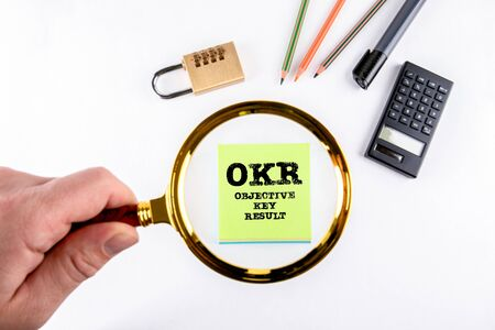 OKR objective key result. Business, Goals and Development concept