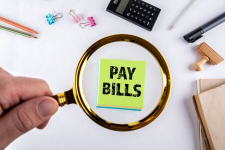 Pay bills reminder. Home finances, obligation and payments