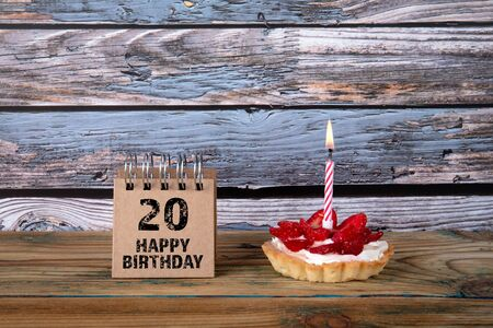 20 Happy Birthday. Greeting card, party, celebration and invitation concept. Cake with candle