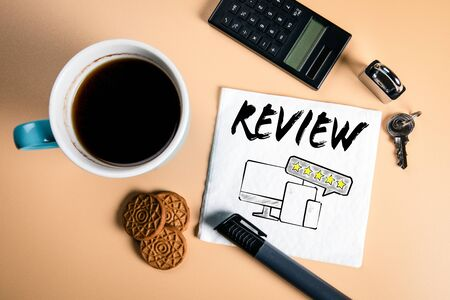 Review. Report, Goals, Achievements and Social Media concept