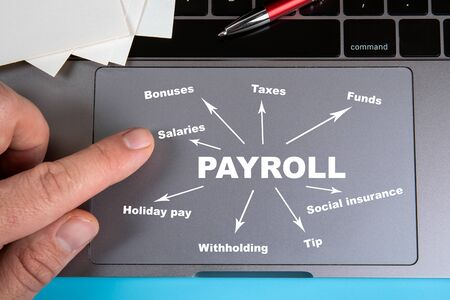 Payroll, work, opportunities, finance and insurance concept Stock Photo