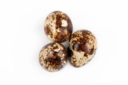 Quail egg on white background. Food, healthy product