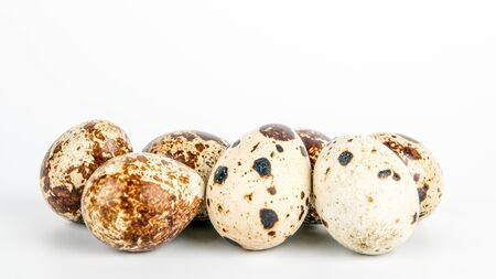 Quail egg on white background. Food, healthy product, animal welfare Standard-Bild