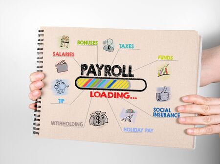 Payroll, work, opportunities, finance and insurance concept. Chart with keywords and icons. Note book on a white background