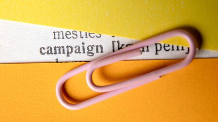 Campaign. Marketing planning and execution. Politics and business plan concept. Keyword and explanation Stockfoto