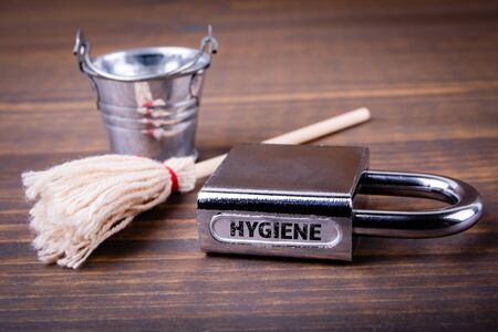 Hygiene. Hand washing, room cleaning and disinfection concept