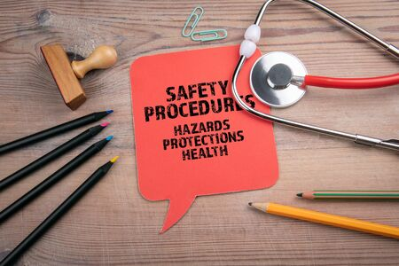 Safety Procedures. Hazards, protections and health concept