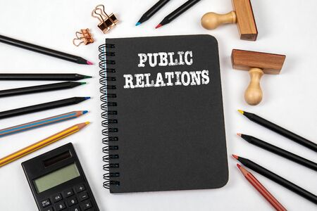 PUBLIC RELATIONS. Marketing, communication and management concept Stockfoto