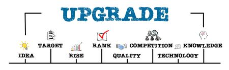 UPGRADE. Idea, Rank, Quality and Tehnology concept. Chart with keywords and icons Stok Fotoğraf