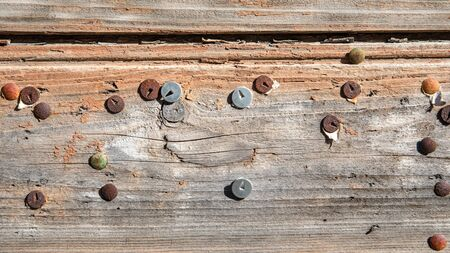 Old message board. Rusty pins. Wood texture and brown color