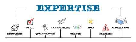 EXPERTISE. Knowledge, Qualification, Idea and Cooperation concept. Chart with keywords and icons Standard-Bild