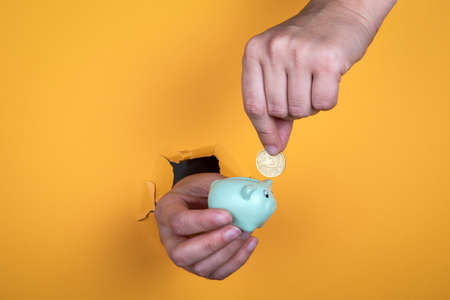 Female hand puts a coin into a piggy bank. Savings, profits, studies and home loan concept 免版税图像