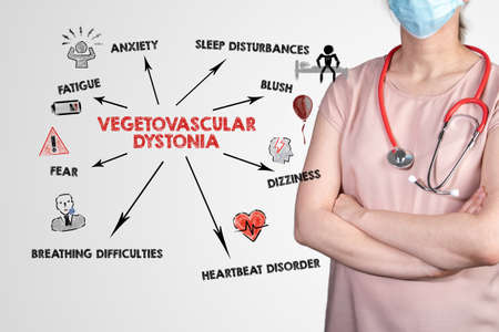 Vegetovascular dystonia. Fatigue, Anxiety, dizziness and sleep disturbances concept. Chart with keywords and icons Stock Photo