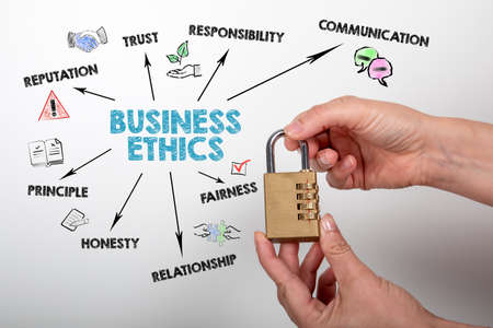 Business Ethics. Trust, Reputation, Communication and Relationship concept. Chart with keywords and icons Stock Photo