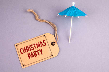 CHRISTMAS PARTY. Invitation, family, recreation and vacation concept. Cardboard price tag
