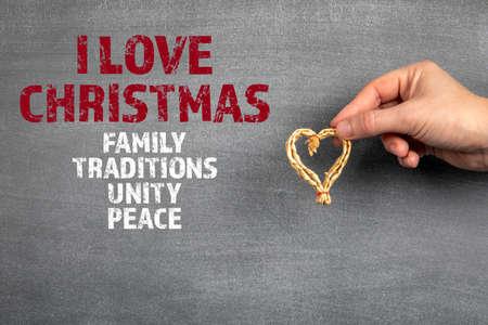 I LOVE CHRISTMAS. Black chalk board background Stock Photo