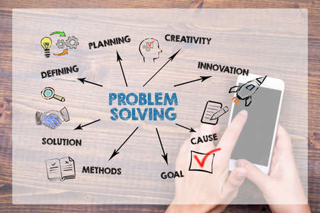 PROBLEM SOLVING. Defining, Creativity, Innovation and Solution concept. Chart with keywords and icons Stock Photo