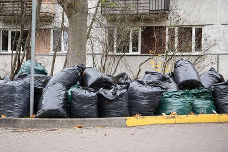 Stack of garbage bag or bin bag. Waste sorting, tidy and clean environmen Stock Photo