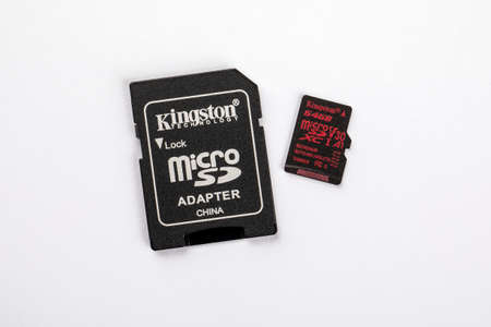 Kingston technology 64 GB secure digital micro SD memory card for digital camera or mobile phone on a white background