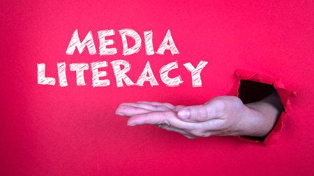 Media Literacy. False news, social media and skills concept Stock Photo