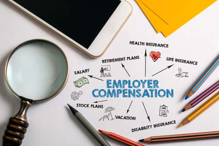 Employer compensation. Salary, Retirement, Insurance and Vacation concept. Chart with keywords and icons