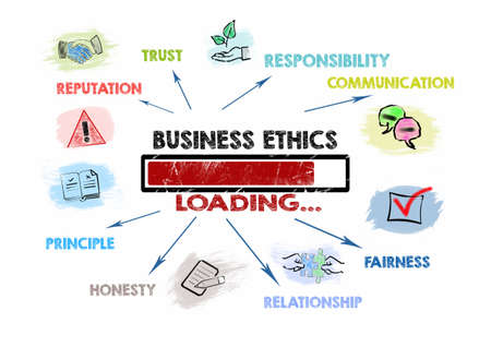 Business Ethics. Trust, Reputation, Communication and Relationship concept. Loading keywords and icons 版權商用圖片