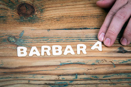 BARBARA. Name of women and girls. White letters of the alphabet