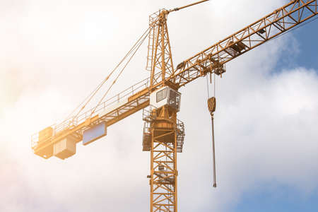 Construction crane. Construction site, high-rise buildings and development