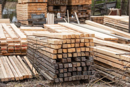 Timber storage and sawing. Building materials, production and distribution. Local business 版權商用圖片
