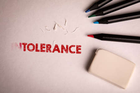 Tolerance. Colored pencils and eraser on a white sheet of paper.