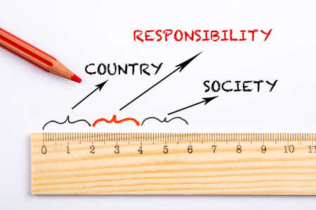 Country, Responsibility and Society concept. Wooden ruler and red pencil on a sheet of paper