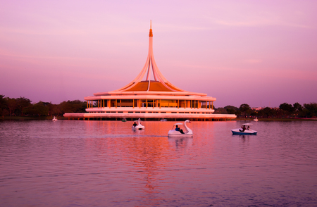 ix: Suanluang RAMA IX public park in twilight , Bangkok, Thailand