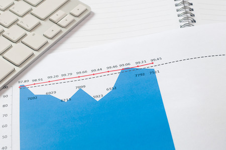 everyday jobs: financial graph chart with notebook and keyboard. business concept Stock Photo