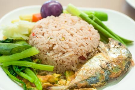 pla: fried mackerel with shrimp paste sauce  and vegetable (nam prik kapi pla too) Stock Photo