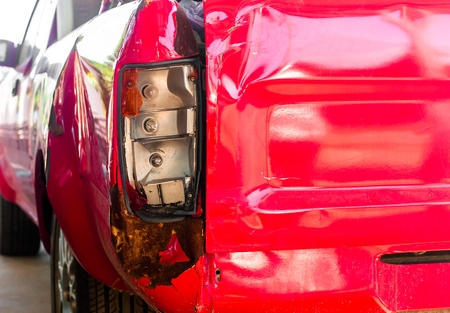 car wreck: tail light of pick-up car damage car by accident Stock Photo