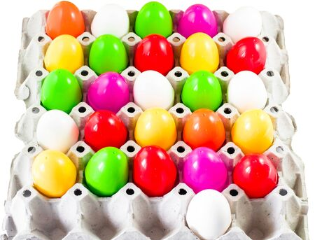 spawn: fancy or colorful of egg in spawn box with white background. soft focus
