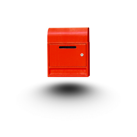 Red mailbox isolated white background Stock Photo