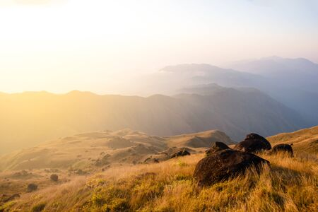 peak of mountain of Mulayit hill in Myanmar country with golden grass