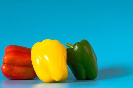 Summer of sweet bell pepper on blue background