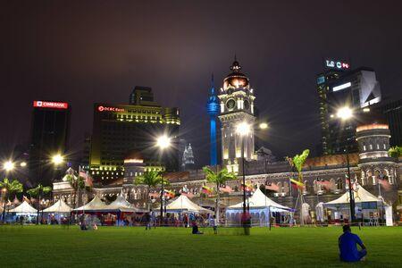 twin tower: Kuala Lumpur, Malaysia-March 19: Merdeka Square or Dataran Merdeka at night with the Sky and Twin Tower in background on March 19, 2016 at Kuala Lumpur , Malaysia Editorial